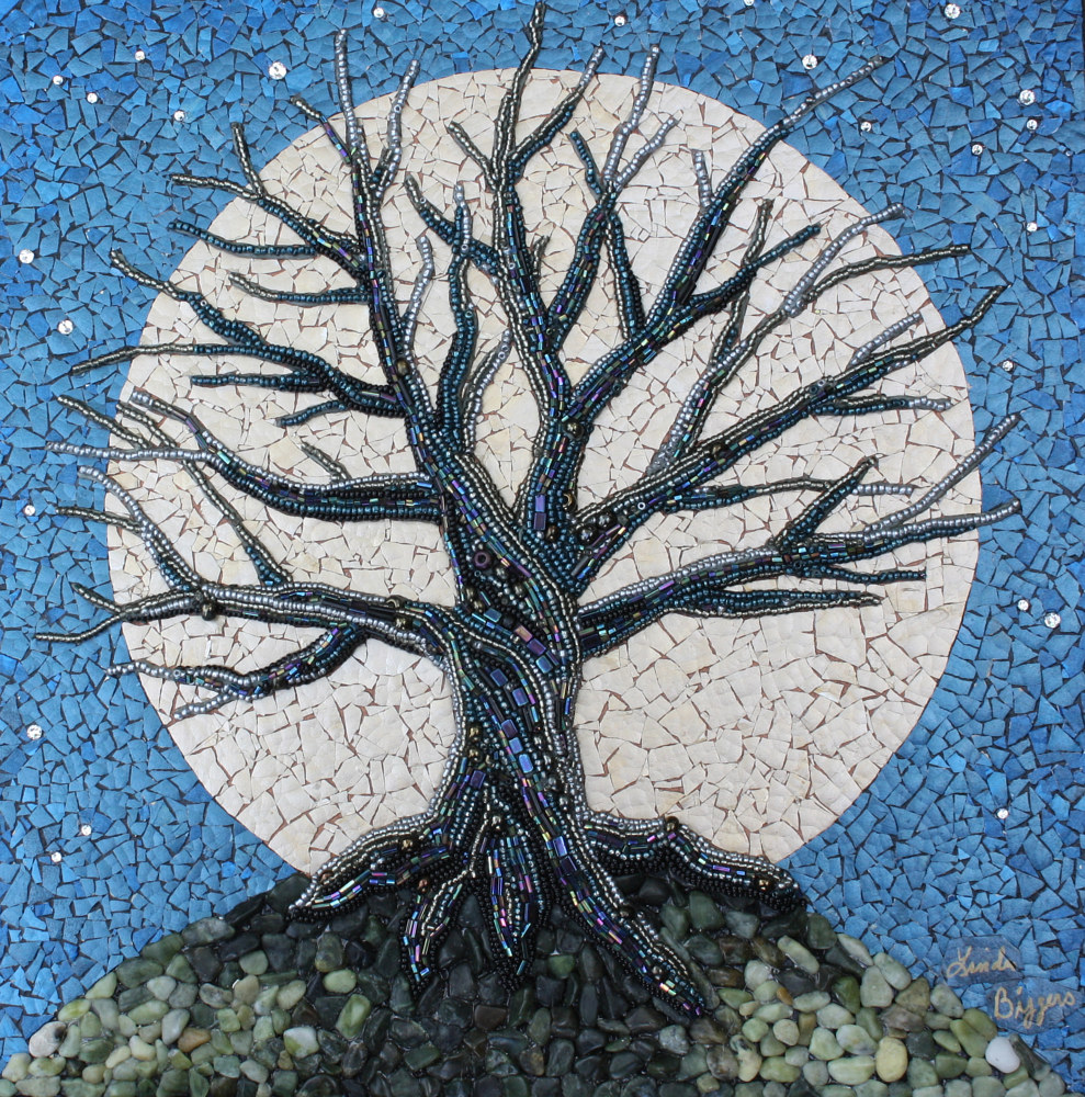 Mixed-media artwork Moon Shadow by Linda Biggers