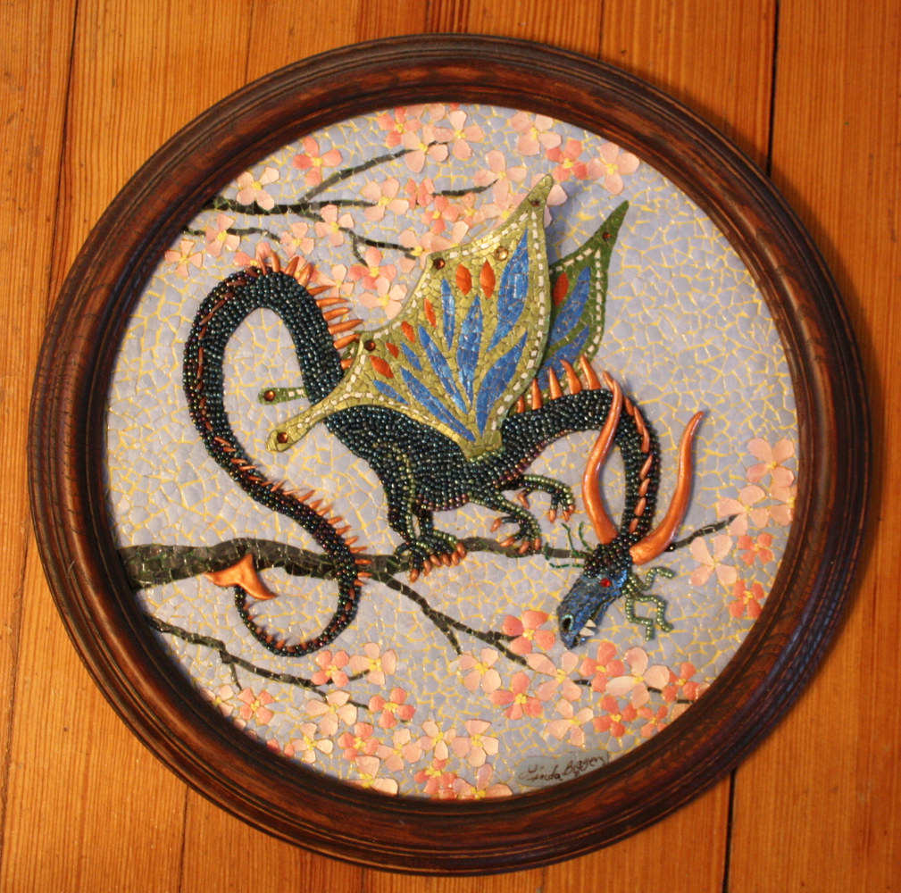 Mixed-media artwork Cherry Blossom Dragon by Linda Biggers