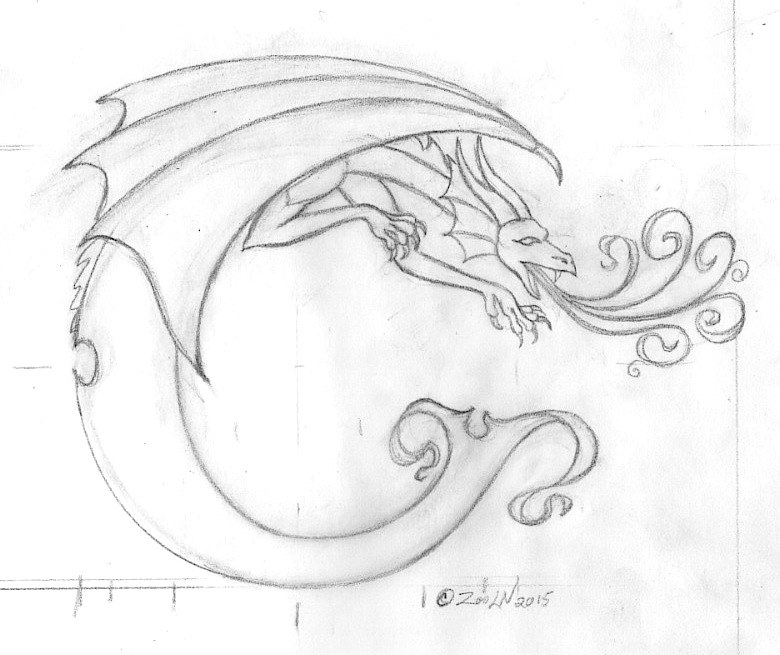 "Drawing hicsuntdraco sketch ""C"" by Sue Ellen Brown"