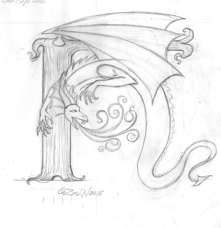 "Drawing hicsuntdraco sketch ""H""-1.0 by Sue Ellen Brown"