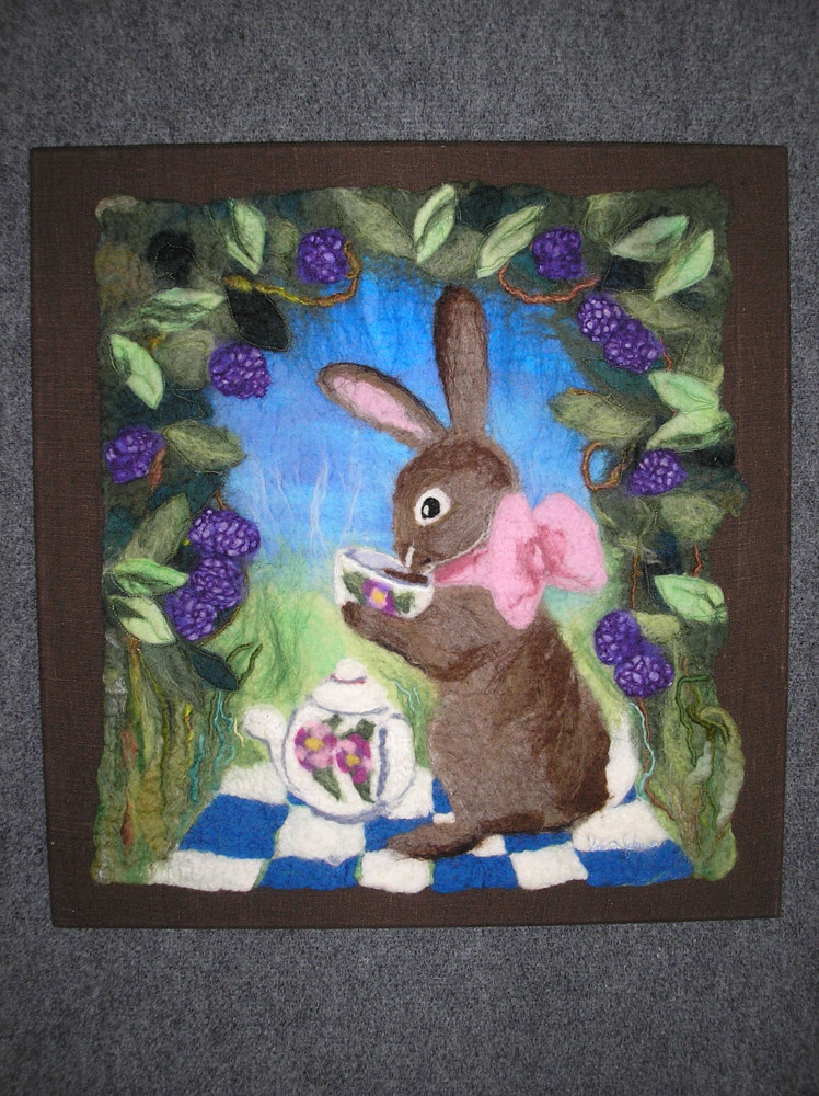 Bunny Having Tea by Valerie Johnson