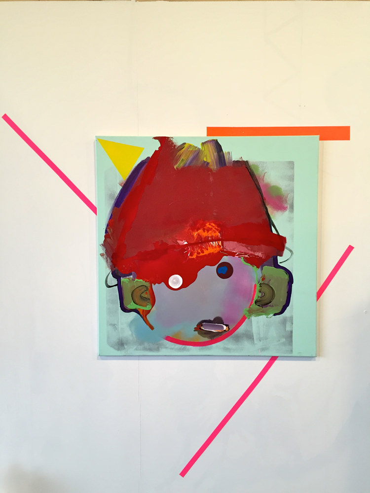 Oil painting  Portrait of self as boy as a cartoon without a red hat with blood thudding in both ears.  by Jaye Early