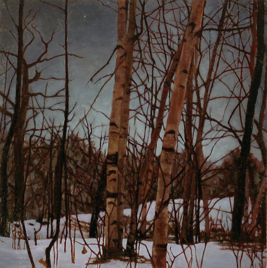 Oil painting Night Snow by Renee Duval