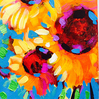Acrylic painting Vincent Choice Sunflowers by Agnes Friedlander