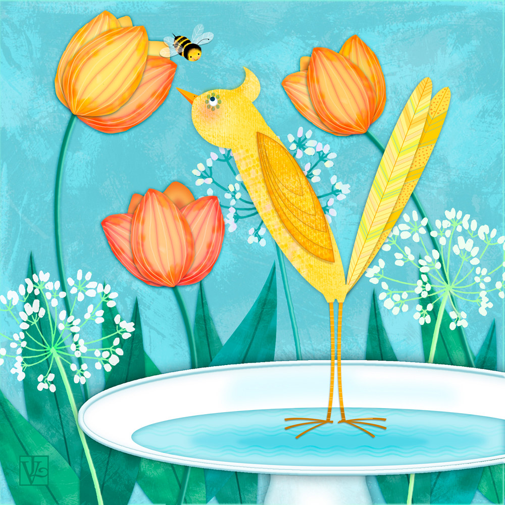 Yellow Bird and Tulips by Valerie Lesiak