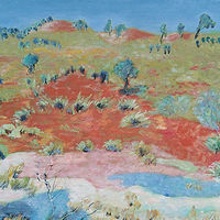 Acrylic painting The Red Center, Beside 'The Ghan', NT, 2015 by Gwenda Branjerdporn
