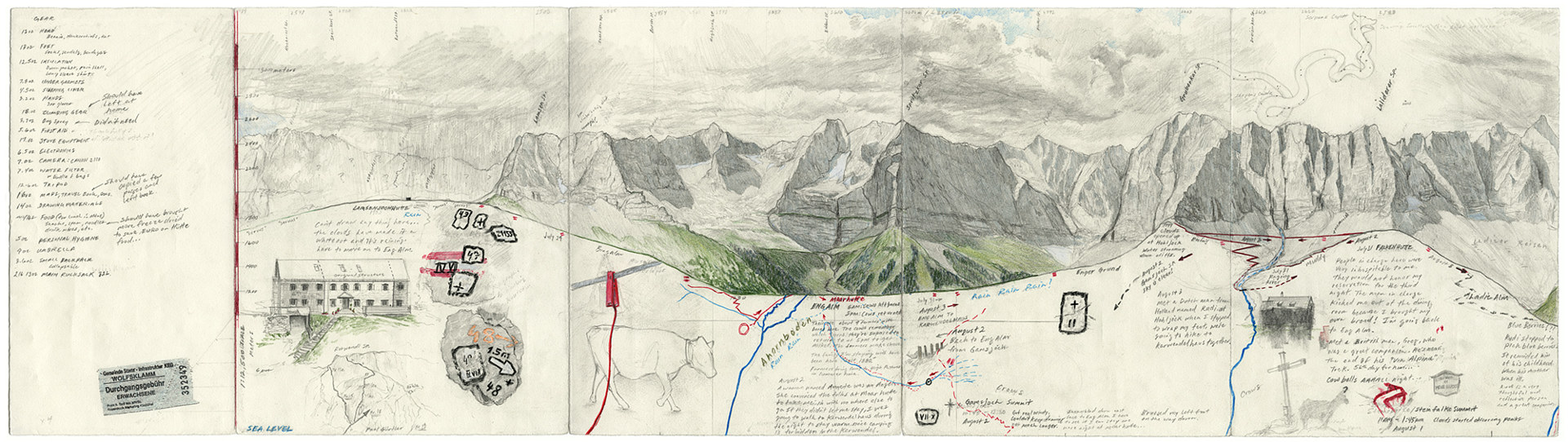 Drawing Detail: Nordwande Karwendel, Field Drawing, Ost (East) by Matthew Rangel