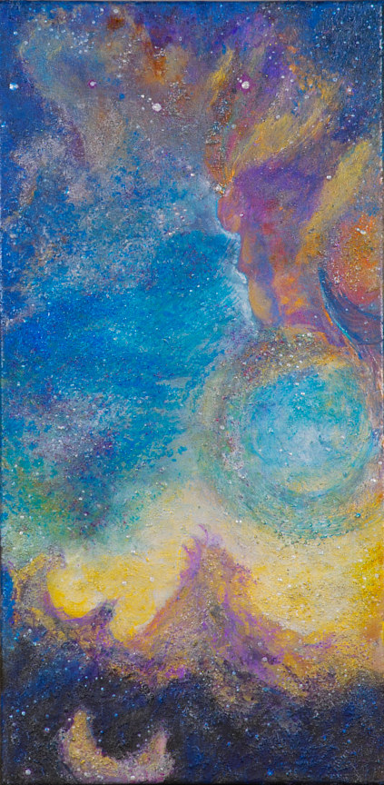 Mixed-media artwork Mermaid Swimming The Inner Seas Of The Eagle Nebula  by Frederica  Hall
