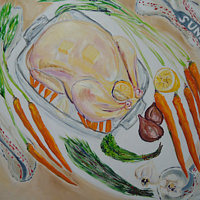 Oil painting Chicken for Roasting  by Michelle Marcotte