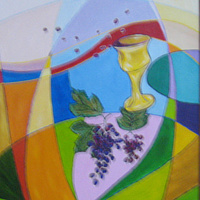 Acrylic painting Sharing Wine by Michelle Marcotte