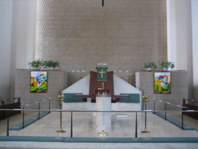 Painting Interior of University United Methodist Church, College Park Md by Michelle Marcotte