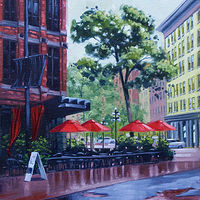 Oil painting Gas Town Rain on Red- Vancouver by Bryan  Coombes