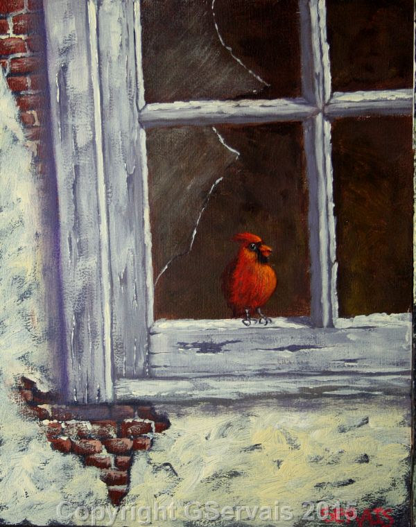 Acrylic painting Cardinal in the Window by George Servais