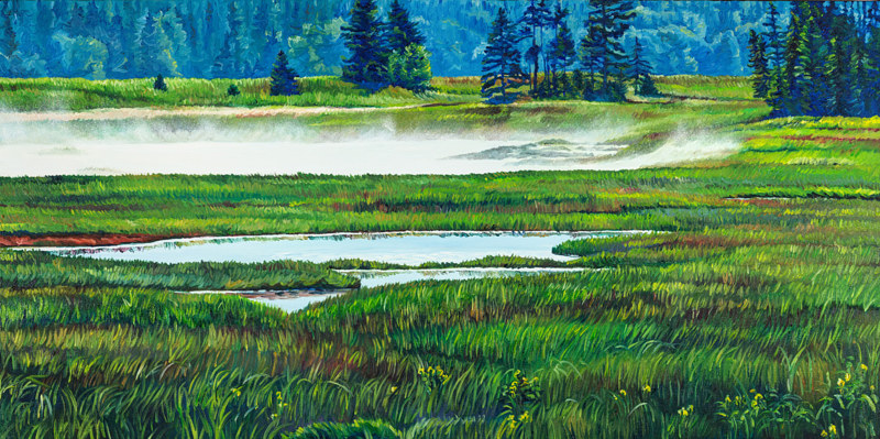 Oil painting Mist Over Thompson Marsh by Michael McEwing