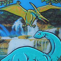 "Acrylic painting ""Mokele Mbembe (Living Dinosaur of the Congo!)"" by Kenneth M Ruzic"