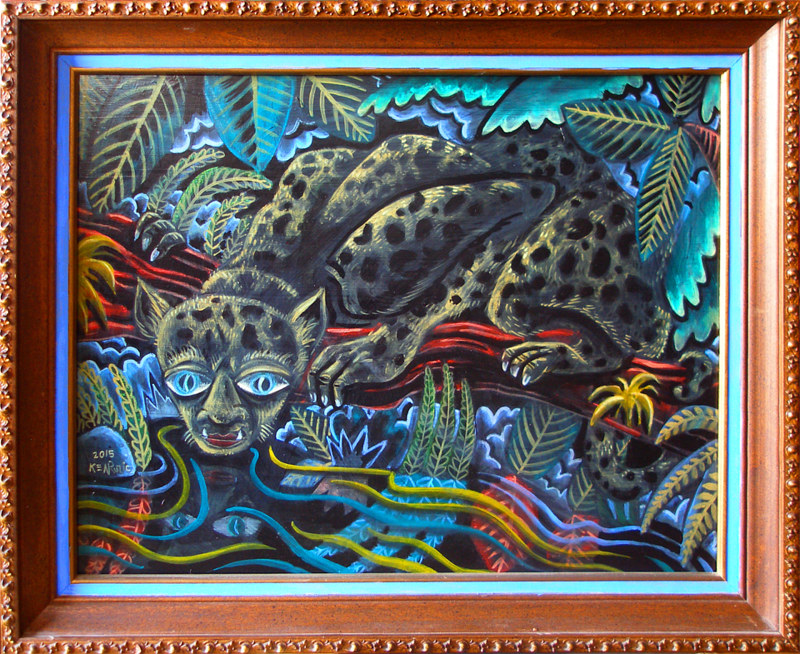 "Acrylic painting ""the Drink/Leopard man"" by Kenneth M Ruzic"