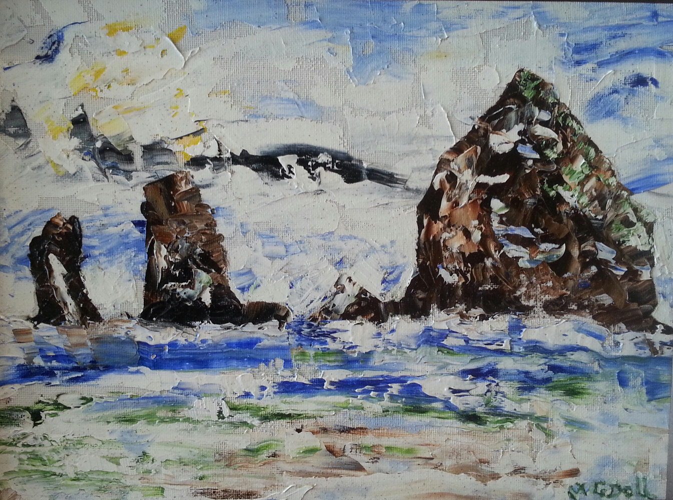 Oil painting Haystack Rock #2 - Cannon Beach,Oregon by Gary Doll