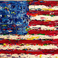 Acrylic painting equality/freedom flag by Jeffrey Newman