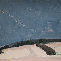 Acrylic painting North Field Hedgerow by Harry Stooshinoff