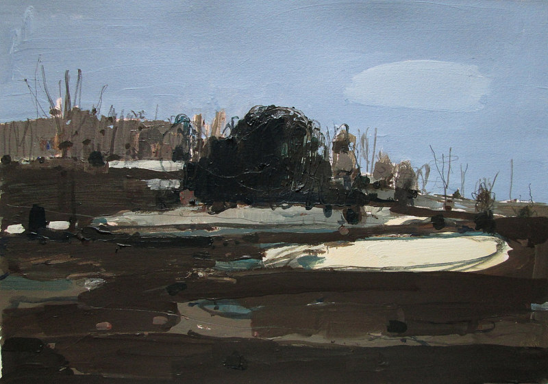 Acrylic painting Dark Sunday, Lost Dog Hill  by Harry Stooshinoff