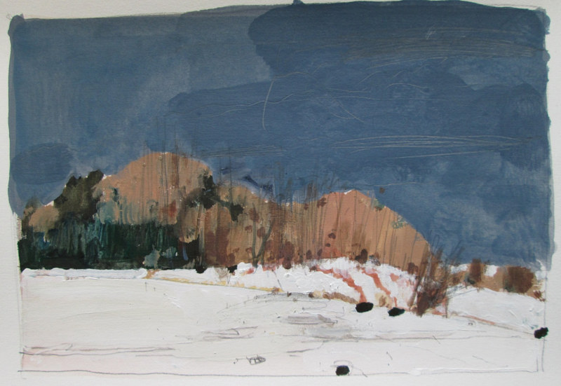Acrylic painting Hillock, February by Harry Stooshinoff