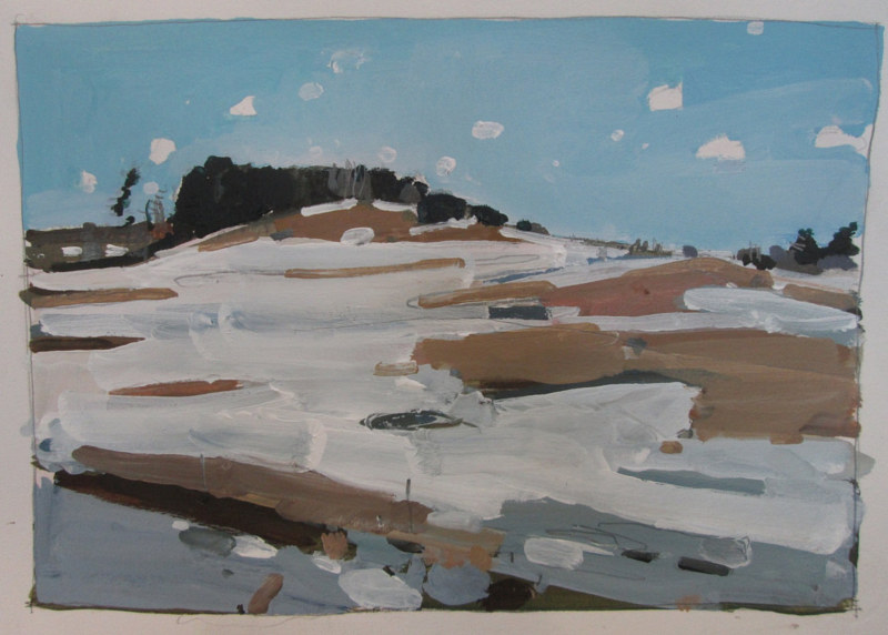 Acrylic painting Slow Thaw on Lost Dog Hill by Harry Stooshinoff