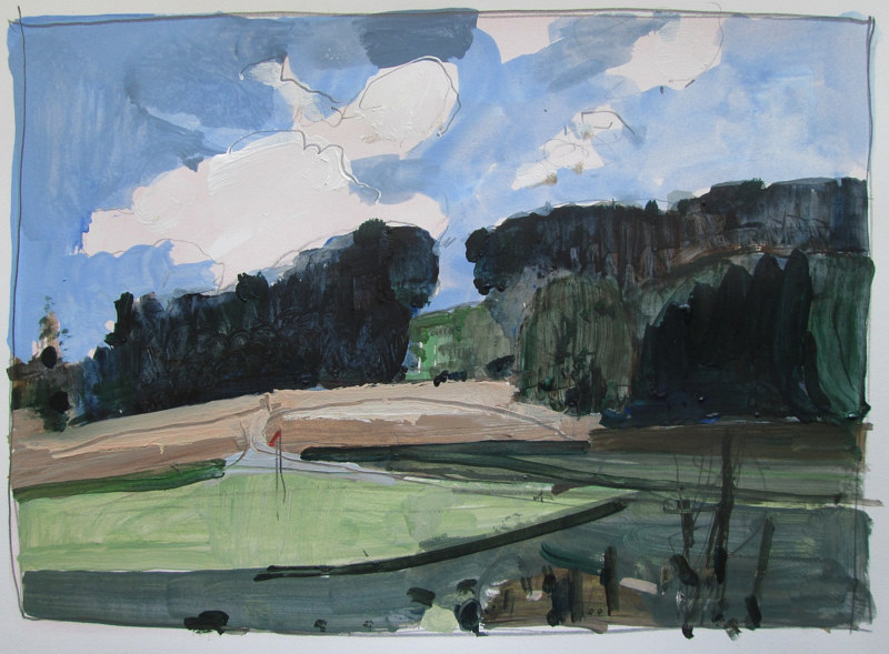 Acrylic painting Golf Course in August by Harry Stooshinoff