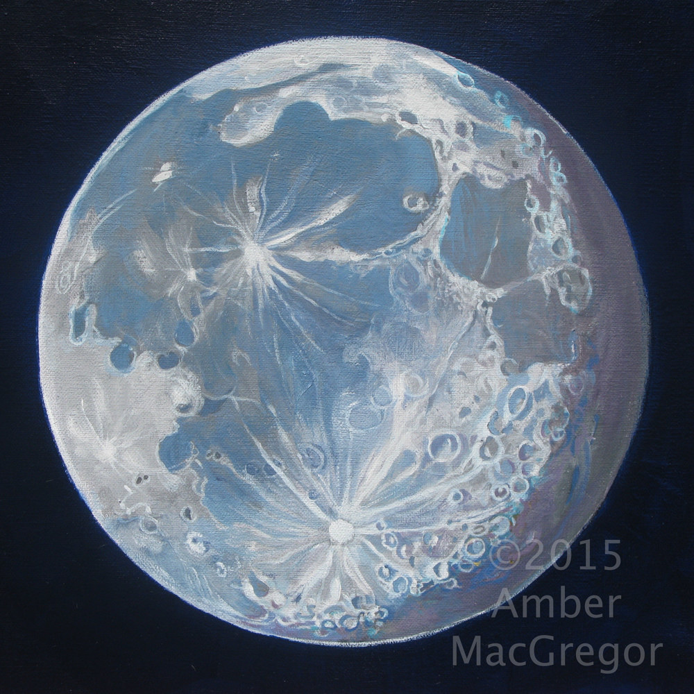 Acrylic painting Moon Portrait 6 by Amber Macgregor