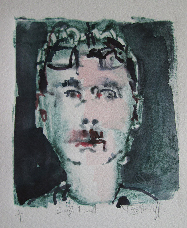 Watercolor Self With Glasses by Harry Stooshinoff