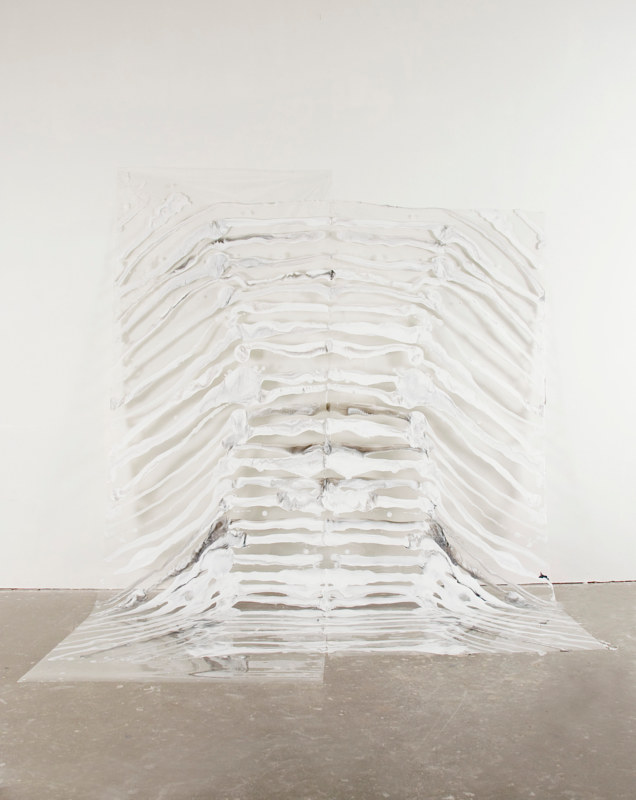 Acrylic painting Stacking, White by Rachel Bury