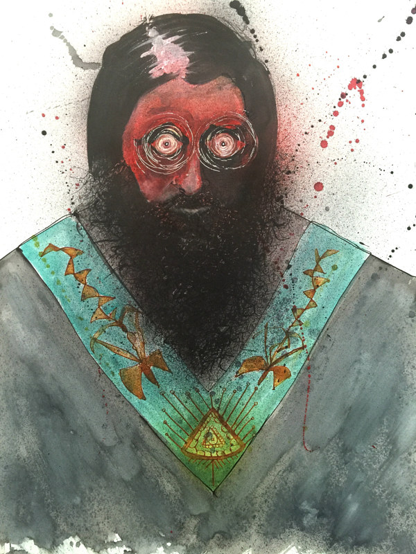 Mixed-media artwork rasputin by Joey Feldman