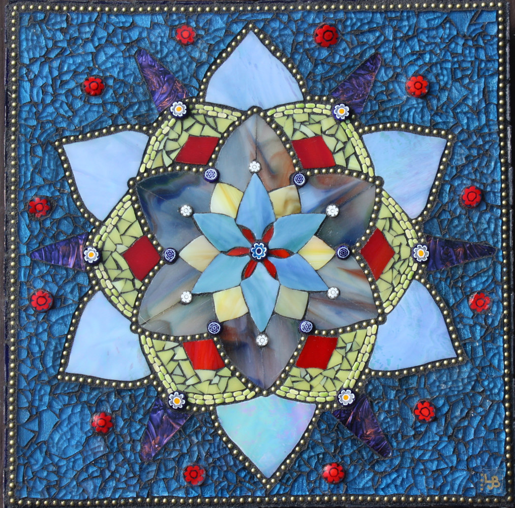 Mixed-media artwork Lotus Mandala by Linda Biggers