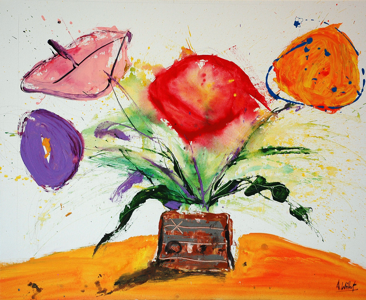 Acrylic painting Flowers on orange  by Allen  Wittert