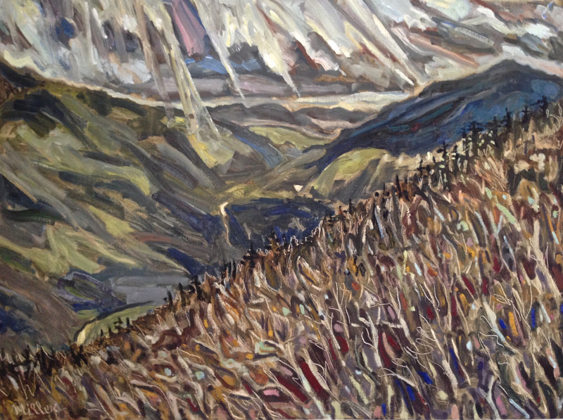 Oil painting El Greco's Flight Over Route 73 by Edward Miller