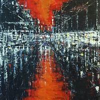 Acrylic painting Urban Composition #5  by David Tycho