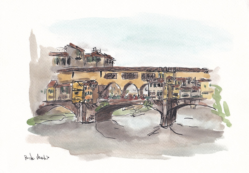 Drawing Ponte Vecchio by Graham Hall