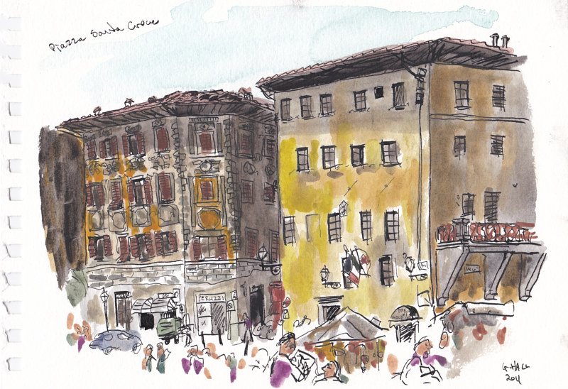 Drawing Piazza Sana Croce by Graham Hall