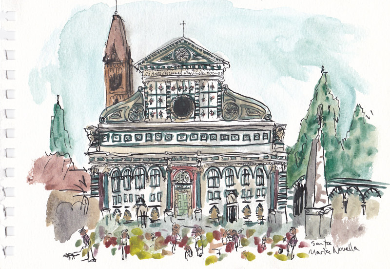 Drawing Santa Maria Novella by Graham Hall