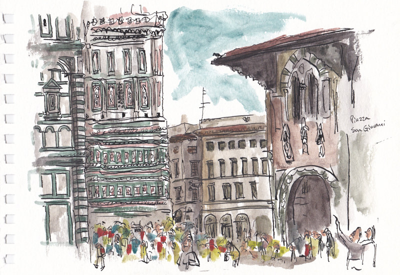 Drawing Piazza San Giovanni by Graham Hall
