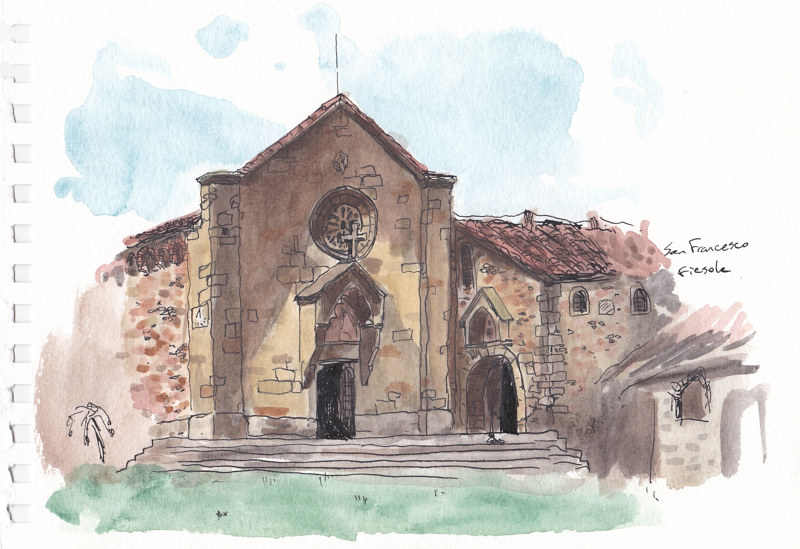 Drawing San Francesco, Fiesole by Graham Hall
