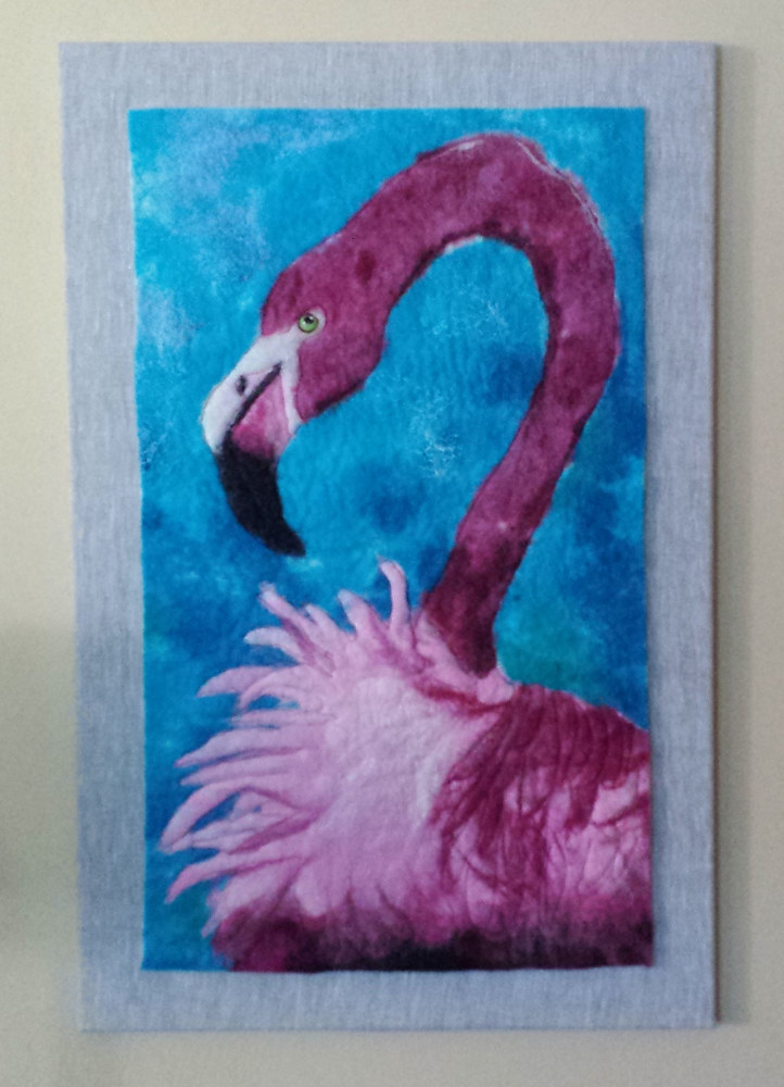 Drawing Pink Flamingo by Valerie Johnson