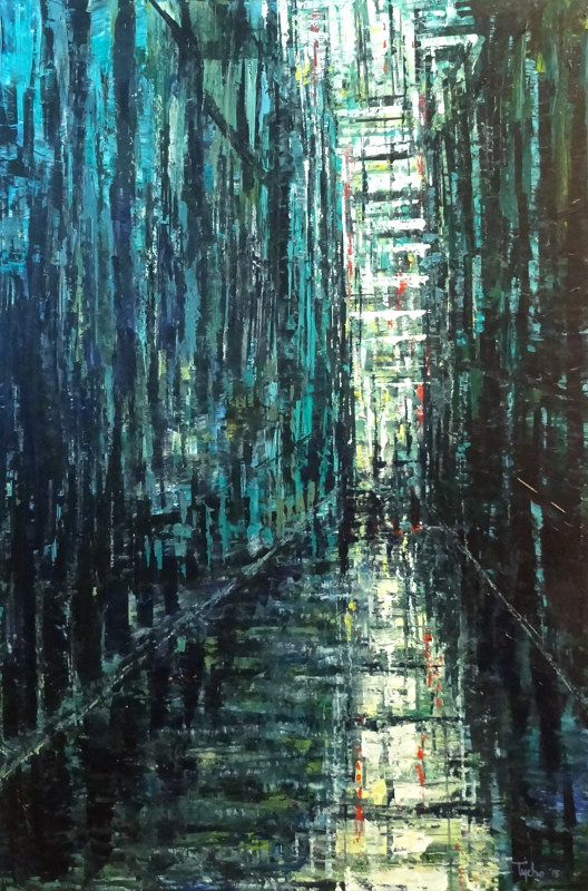 Acrylic painting Alley in Green and Blue  by David Tycho