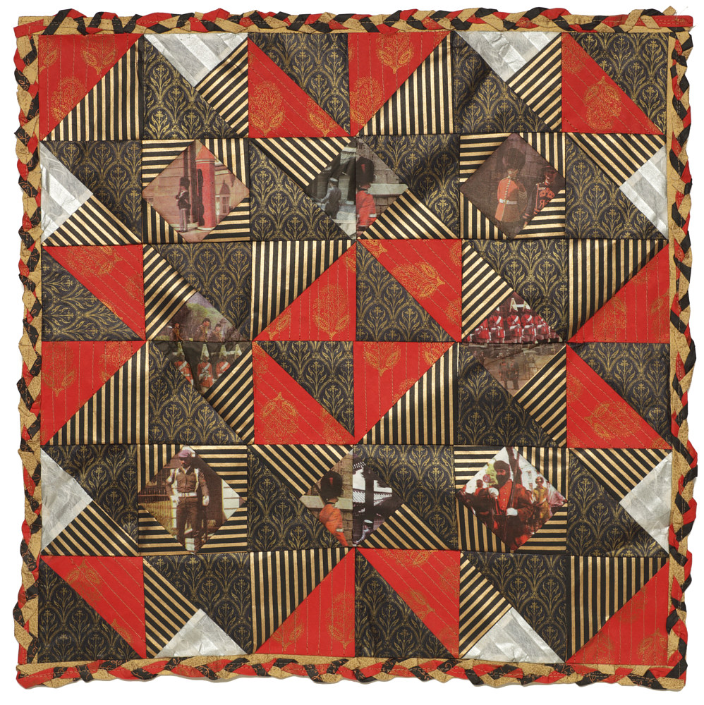 Guard's Quilt, Four colour lithographs on kozo paper, assorted papers and thread, 60 x 60 cm. by Julie Mcintyre