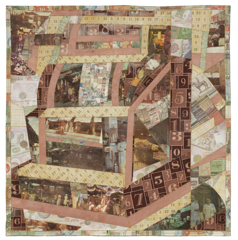 Print Shopkeeper's Quilt, Four colour lithographs on kozo paper, assorted papers including currency and thread, 60 x 60 cm. by Julie Mcintyre