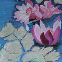Acrylic painting Waterlilies by Gwenda Branjerdporn
