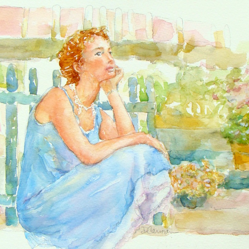 Watercolor Garden Blues by Deborah Carman