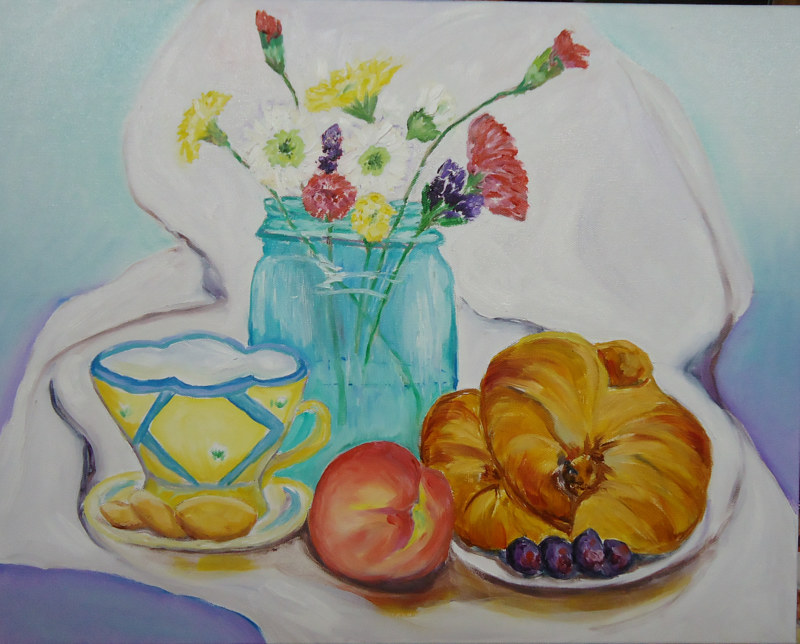 Oil painting Memories of Breakfast in Paris by Michelle Marcotte