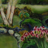 Oil painting Marilyn's garden Aug 20 2015 by Michelle Marcotte