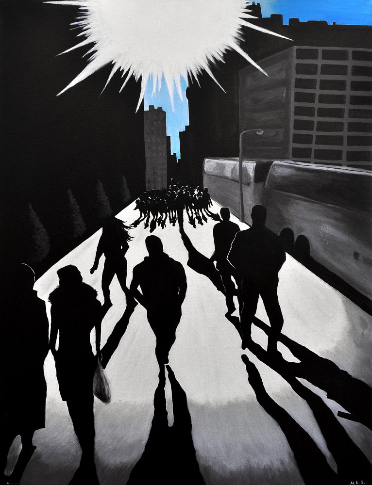 Acrylic painting City Silhouettes 2 by Meghan Sims