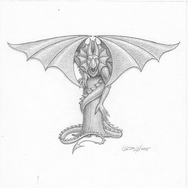 "Painting Dracoserific ""T"" -2.!, graphite by Sue Ellen Brown"